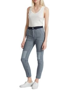 French Connection Stripe Mash Up Pin Up Skinny Jeans