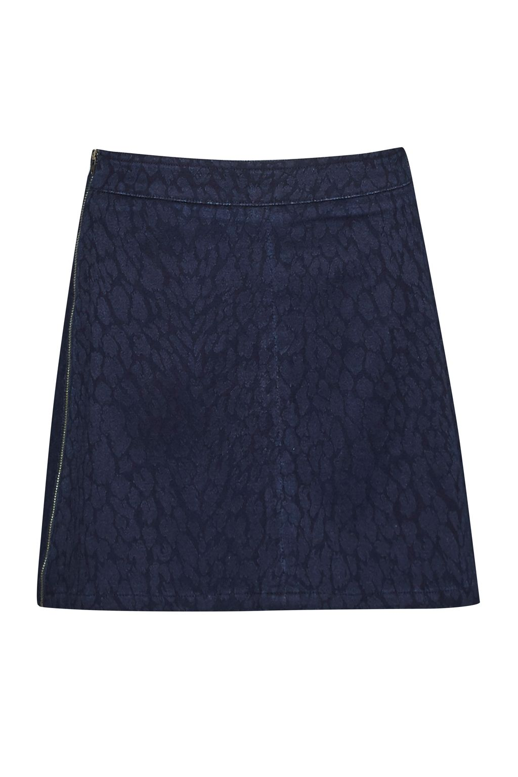 French Connection Animal Jacquard Denim Mini Skirt Navy