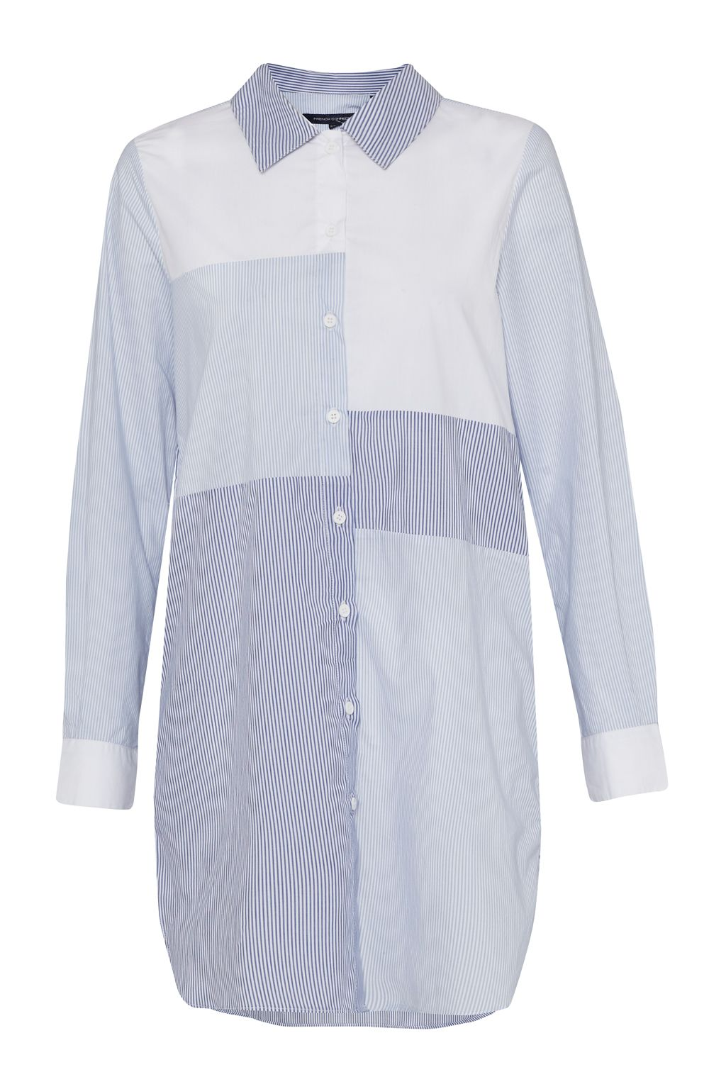 French Connection City Stripe Oversized Shirt Dress, Blue