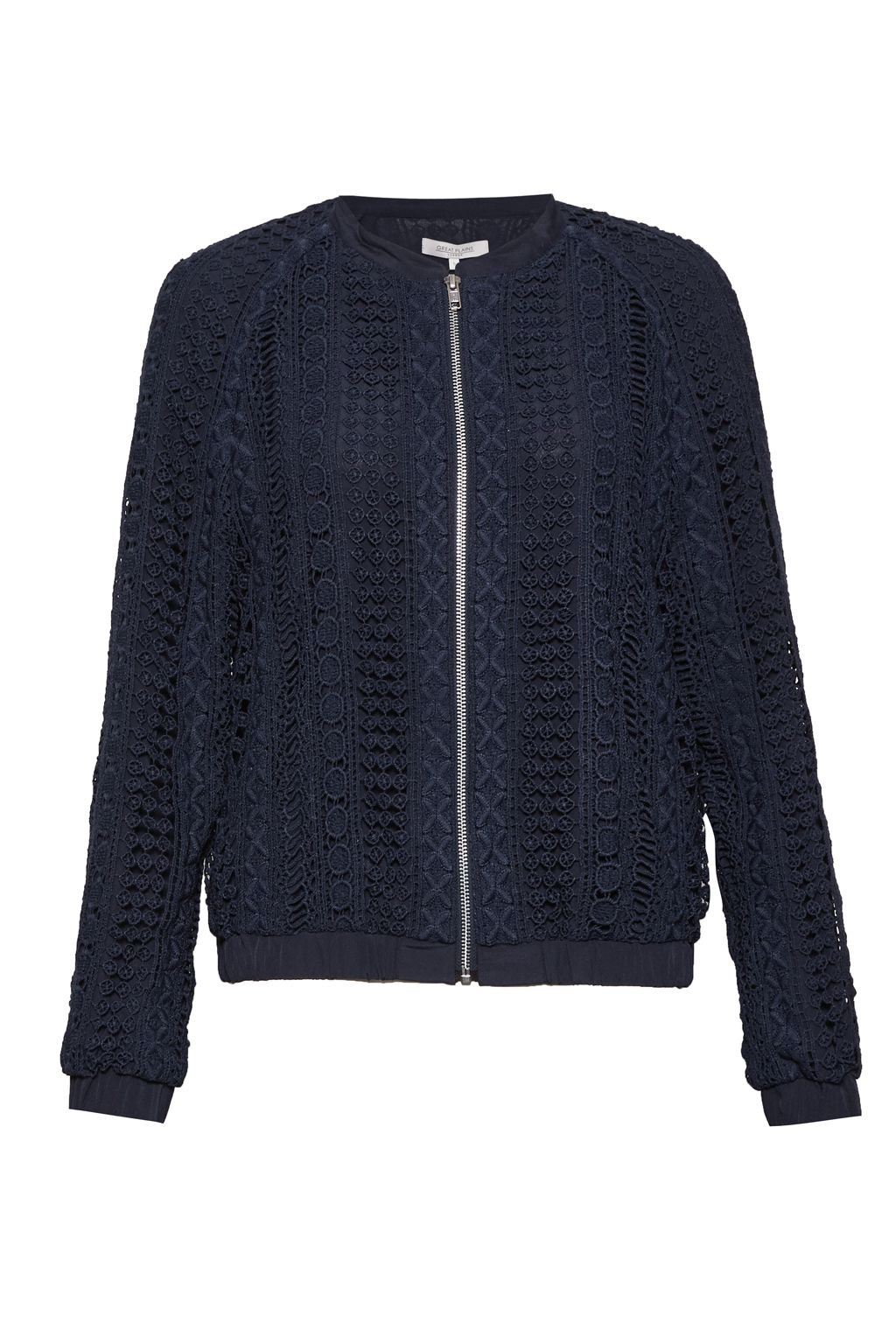 Great Plains Lucia Lace Mix Bomber Jacket, Blue