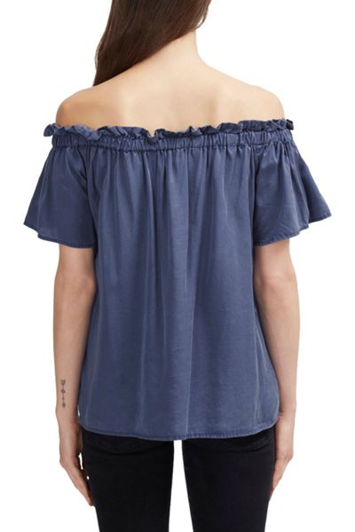 French Connection Stayton Cobalt Ruffle Bardot Top