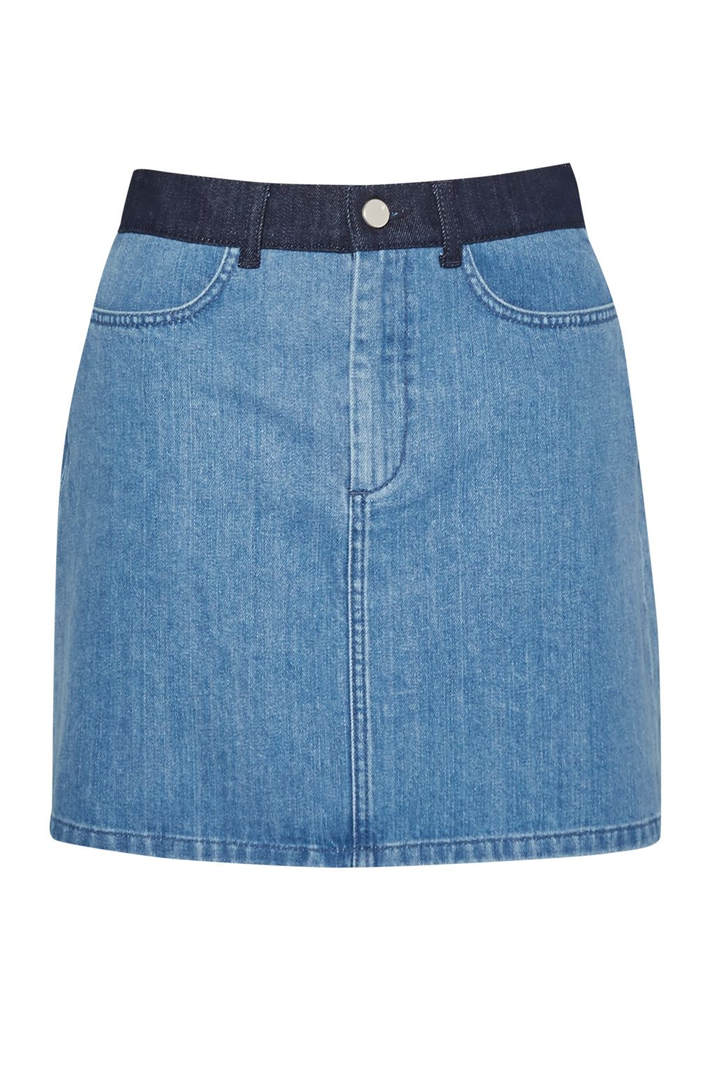 French Connection Wisteria Blue Denim Mini Skirt, Blue