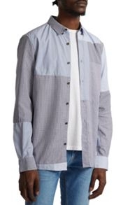 French Connection Patchwork Bleached Jean Shirt