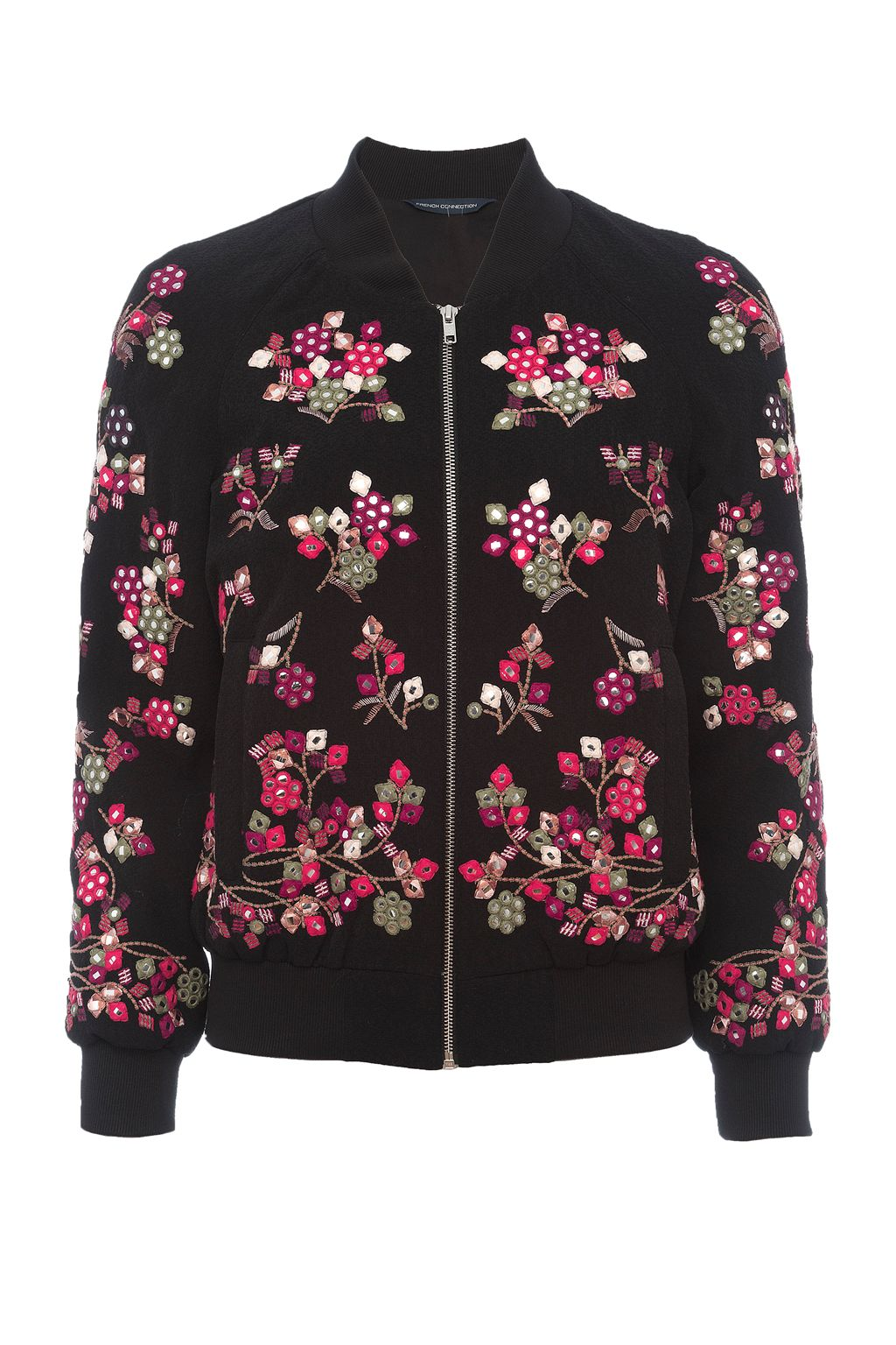 French Connection Gilliam Floral Embroidered Bomber, Black