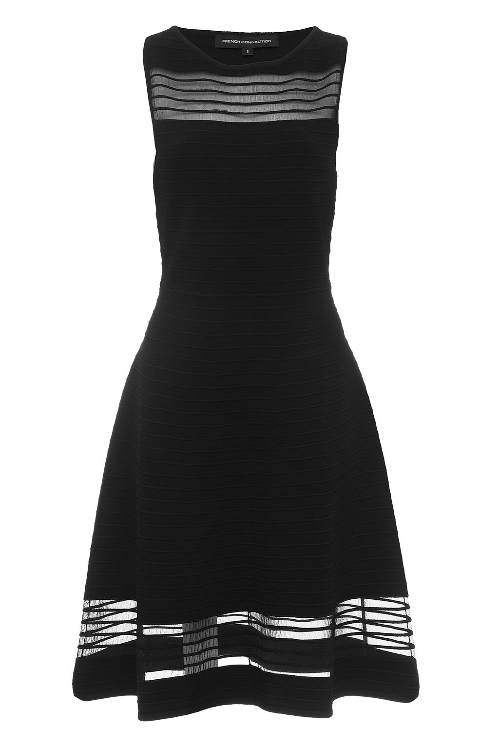 French Connection Tobey Crepe Knits Flared Dress, Black