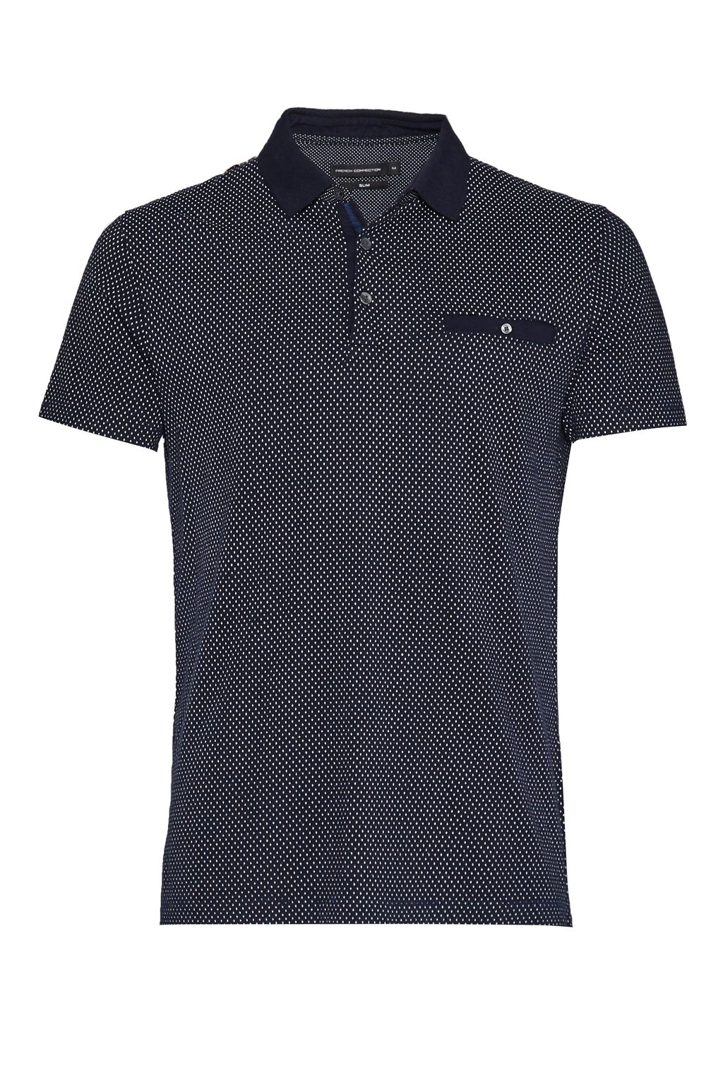 Mens French Connection Summer Ditsy Polo Shirt Navy