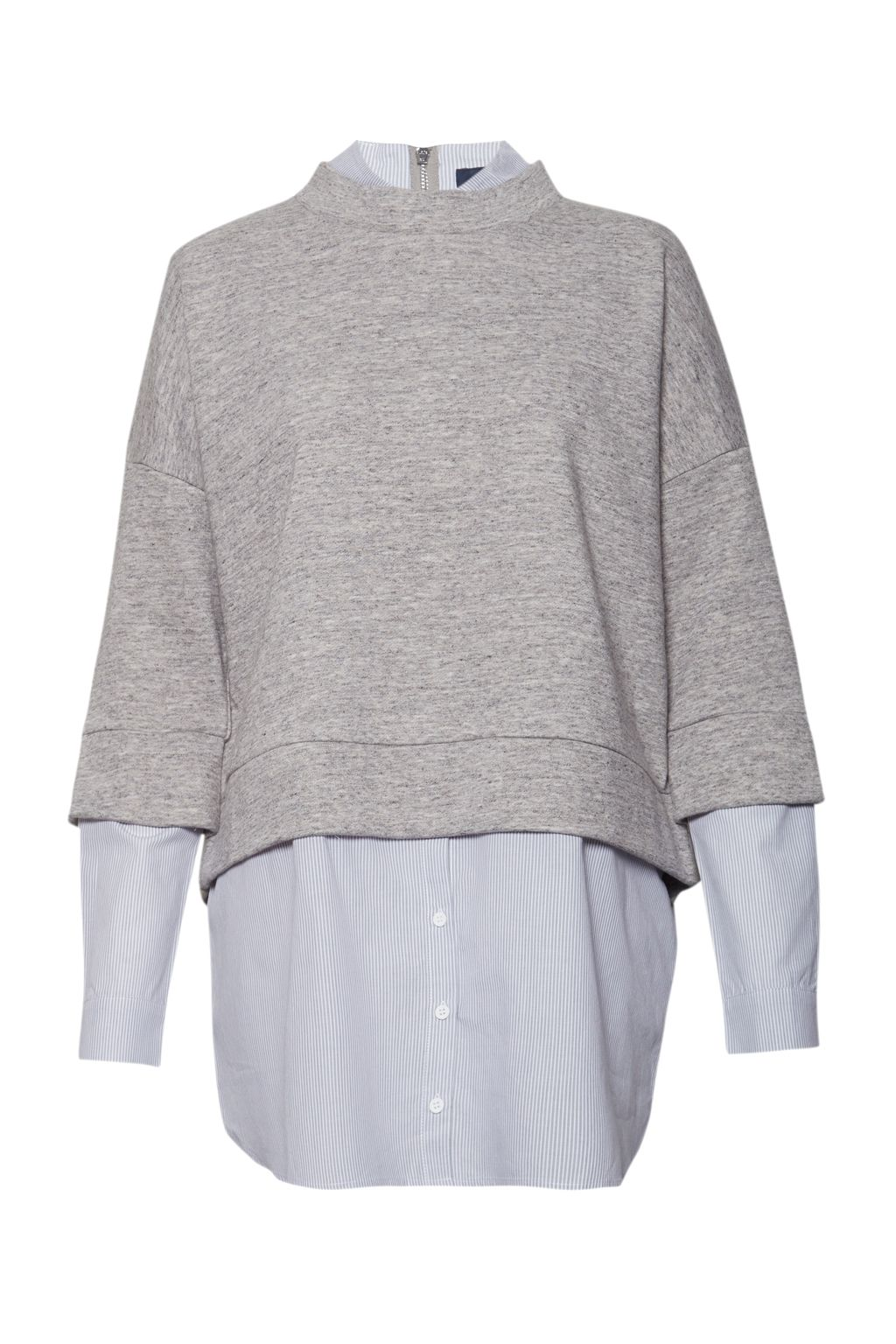 French Connection Dune Mix Shirting Detailed Sweatshirt, Grey