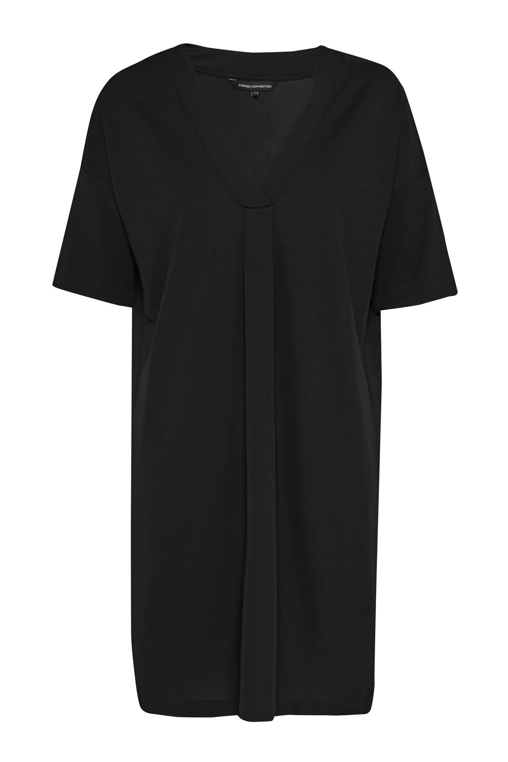 French Connection Bottero Drape V Neck Shift Dress, Black