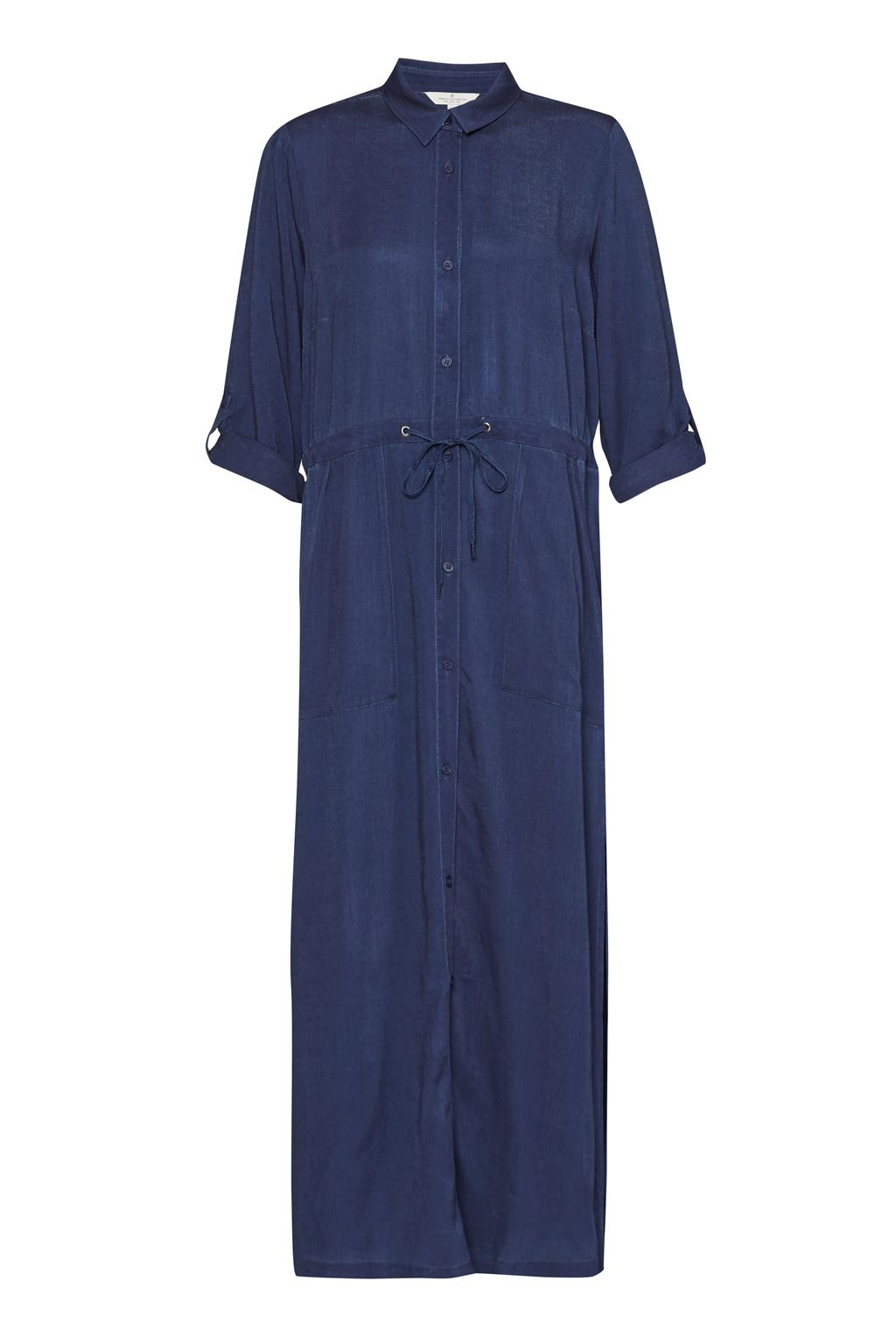 French Connection Altman V Solid Maxi Shirt Dress, Blue
