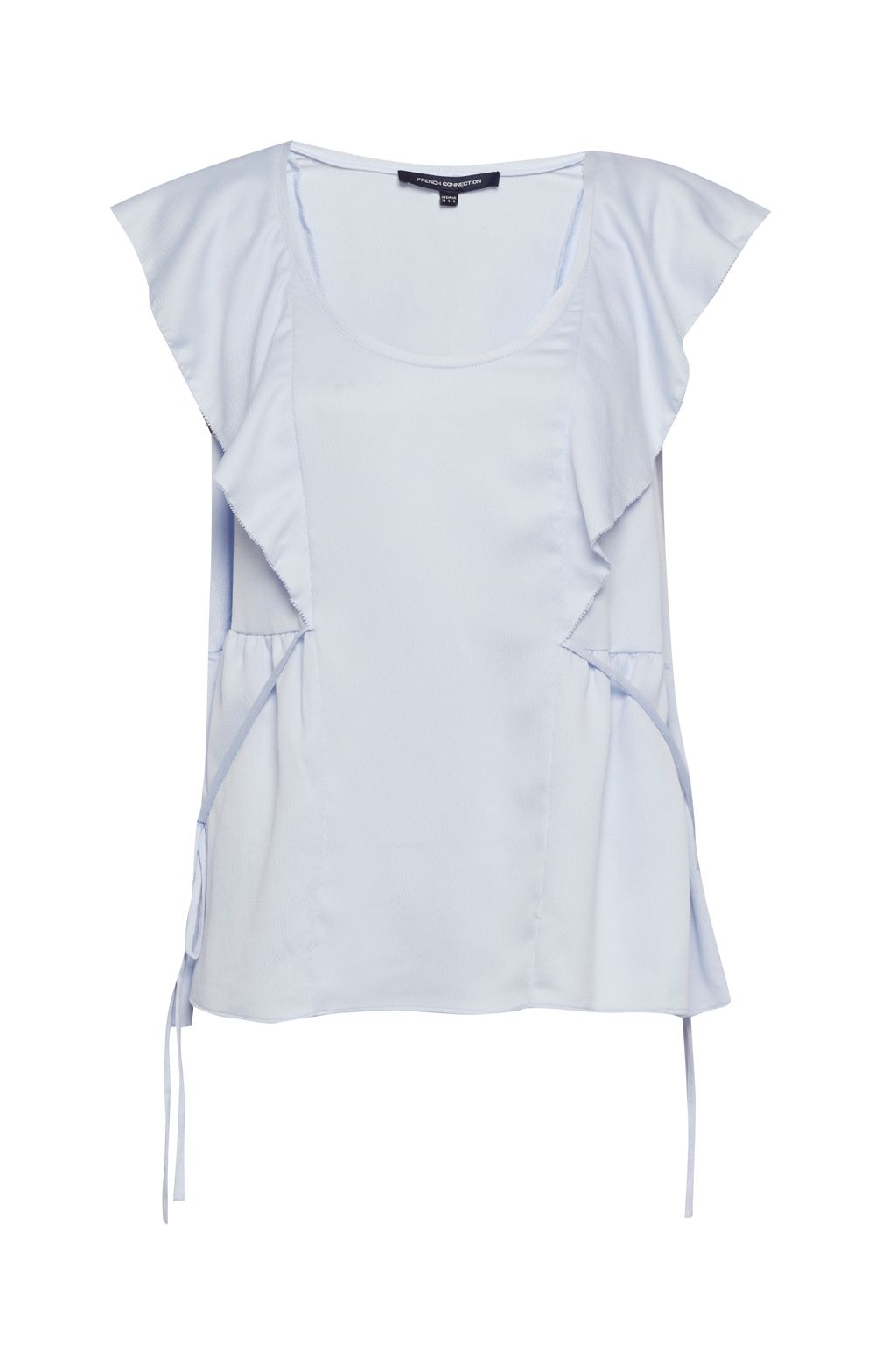 French Connection Nia Crushed Satin Draped Top, Blue