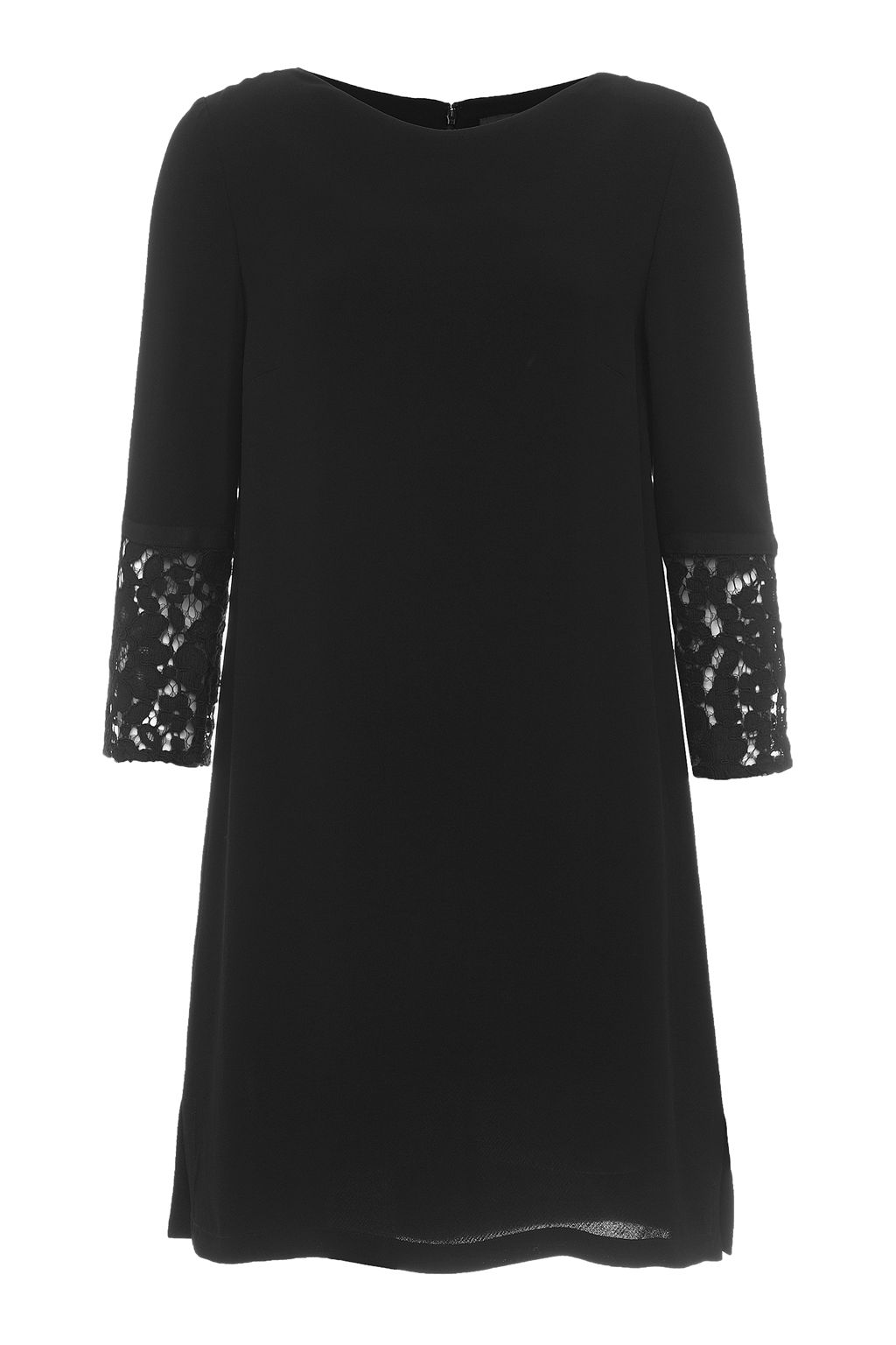 French Connection Ensor Crepe Embroidered Tunic Dress, Black