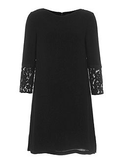 Ensor Crepe Embroidered Tunic Dress