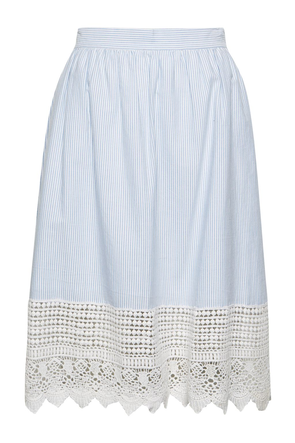 French Connection Nuru Schiffley High Waisted Lace Skirt, Blue