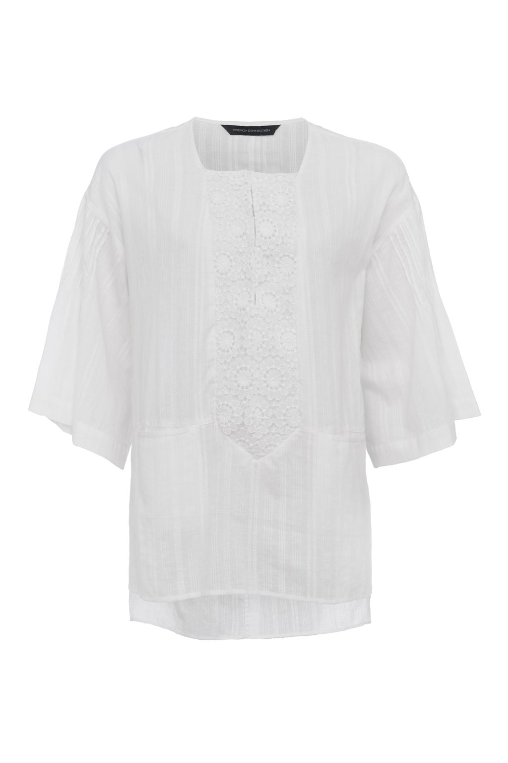 French Connection Oni Cotton Embroidered Blouse, White