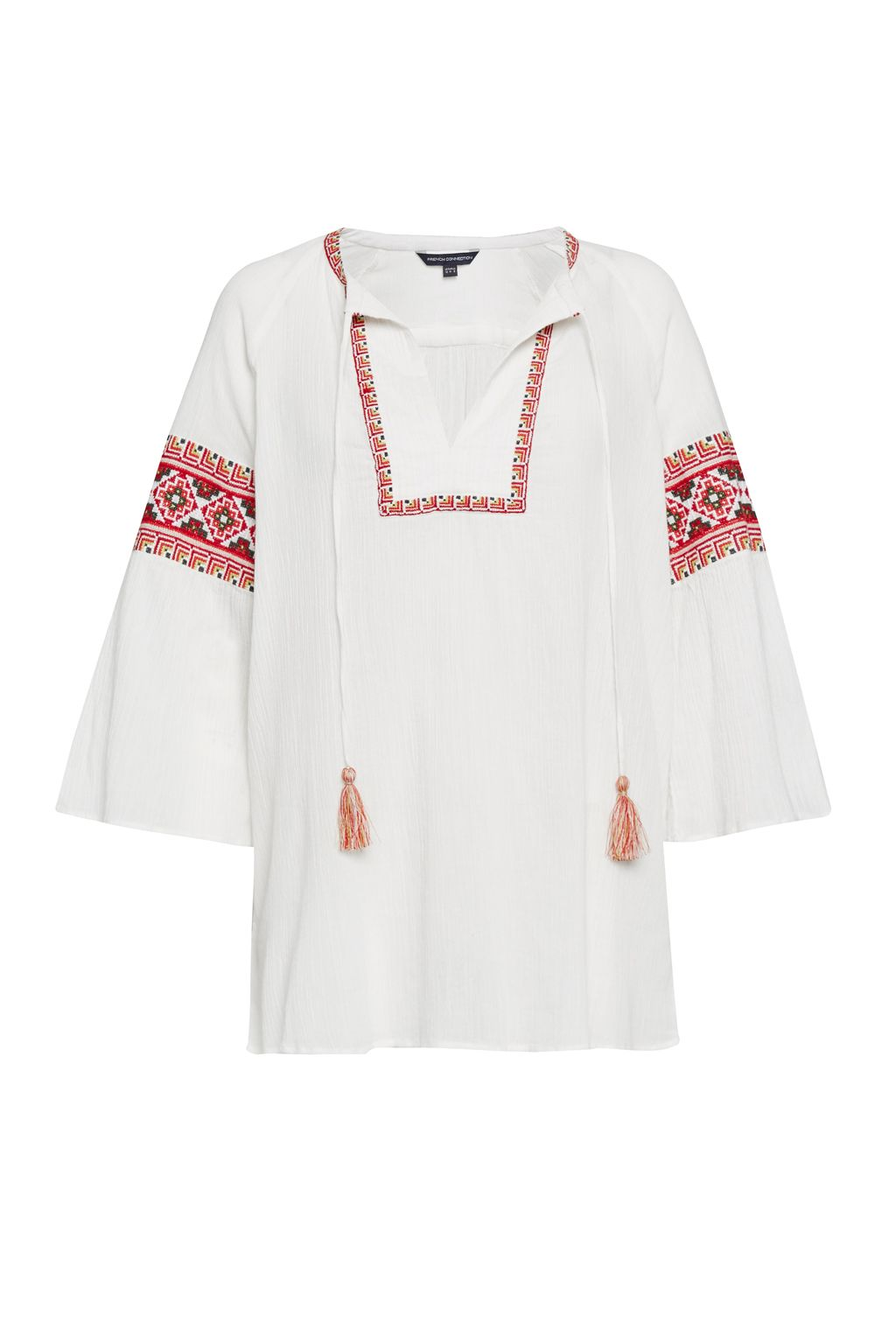French Connection Adanna Crinkle Embroidered Smock Top, White