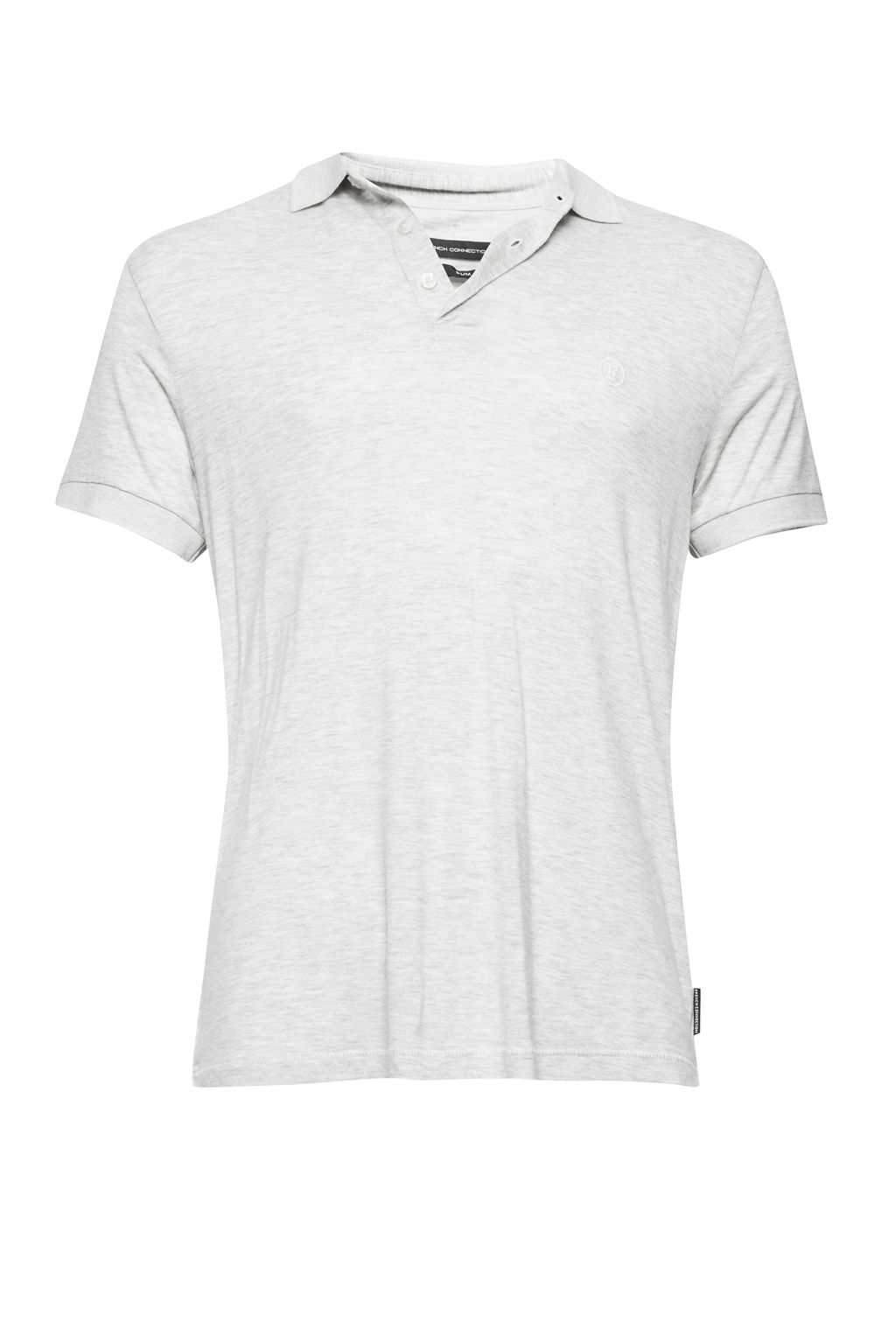 Mens French Connection Summer Modal Jersey Slim Polo Shirt Grey