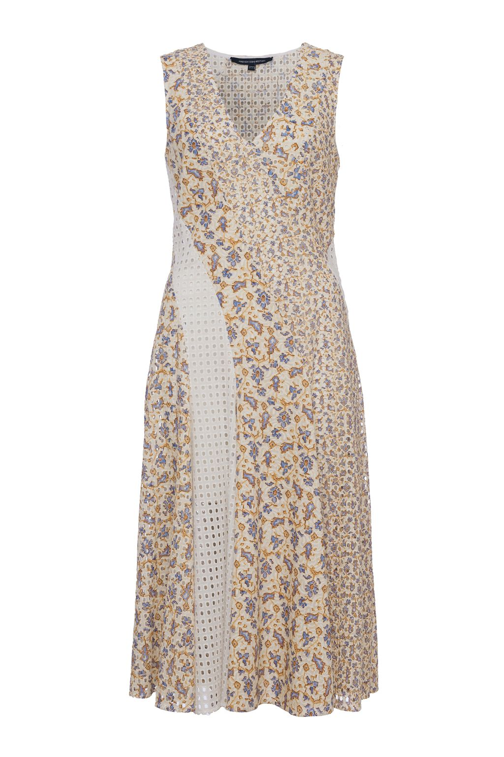 French Connection Niko Broderie Printed Cotton Dress, White
