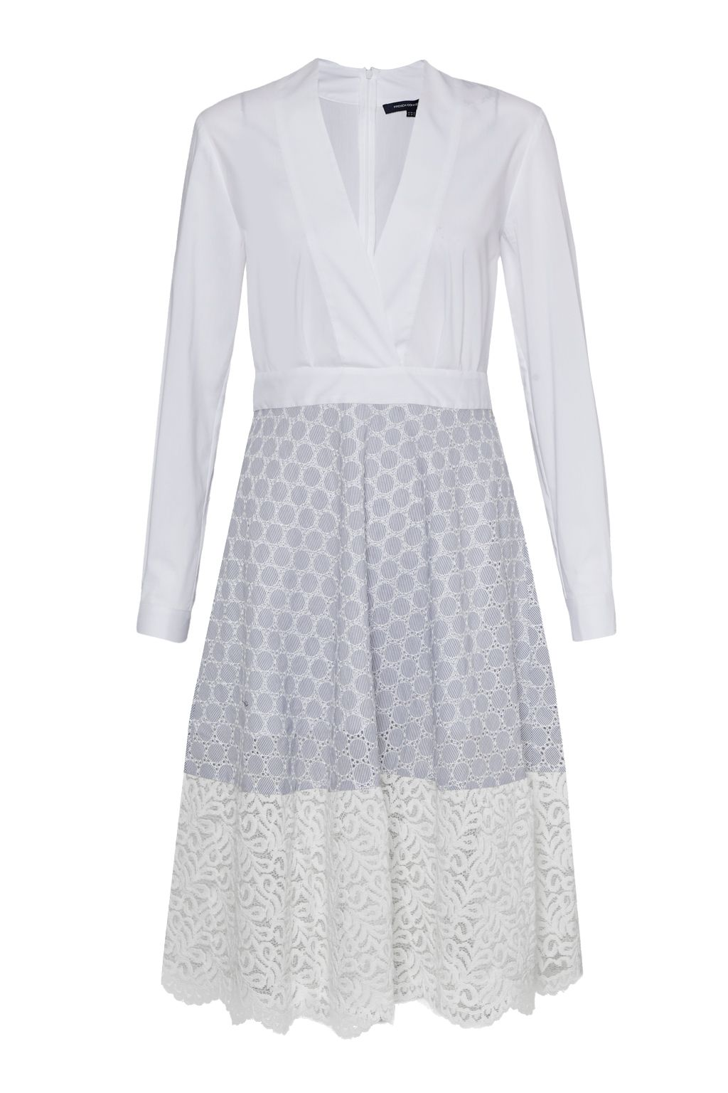 French Connection Oni Lace Mix Flared Cotton Dress, White