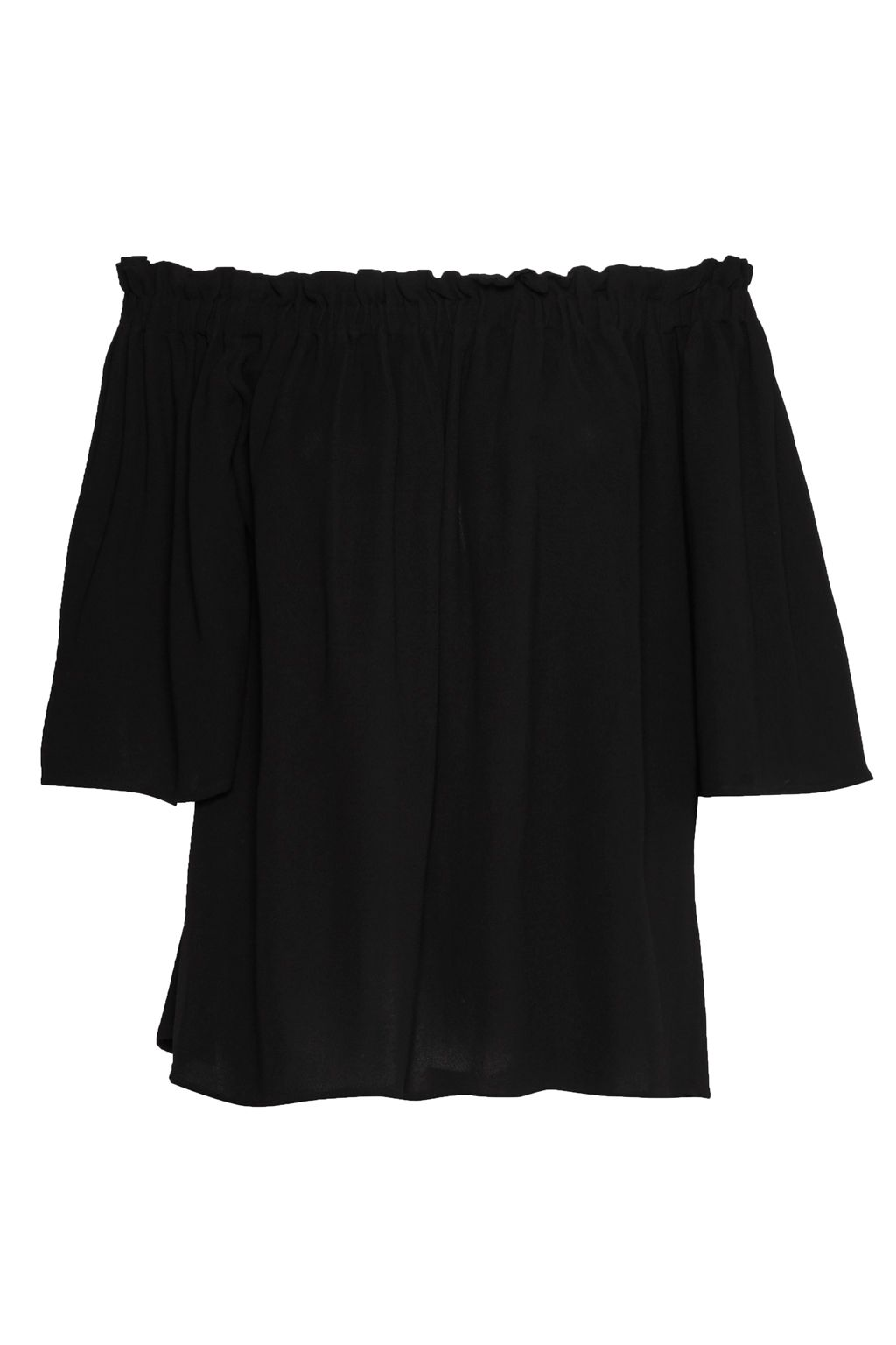 French Connection Evening Dew Ruffle Bardot Top, Black