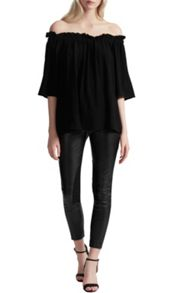 French Connection Evening Dew Ruffle Bardot Top