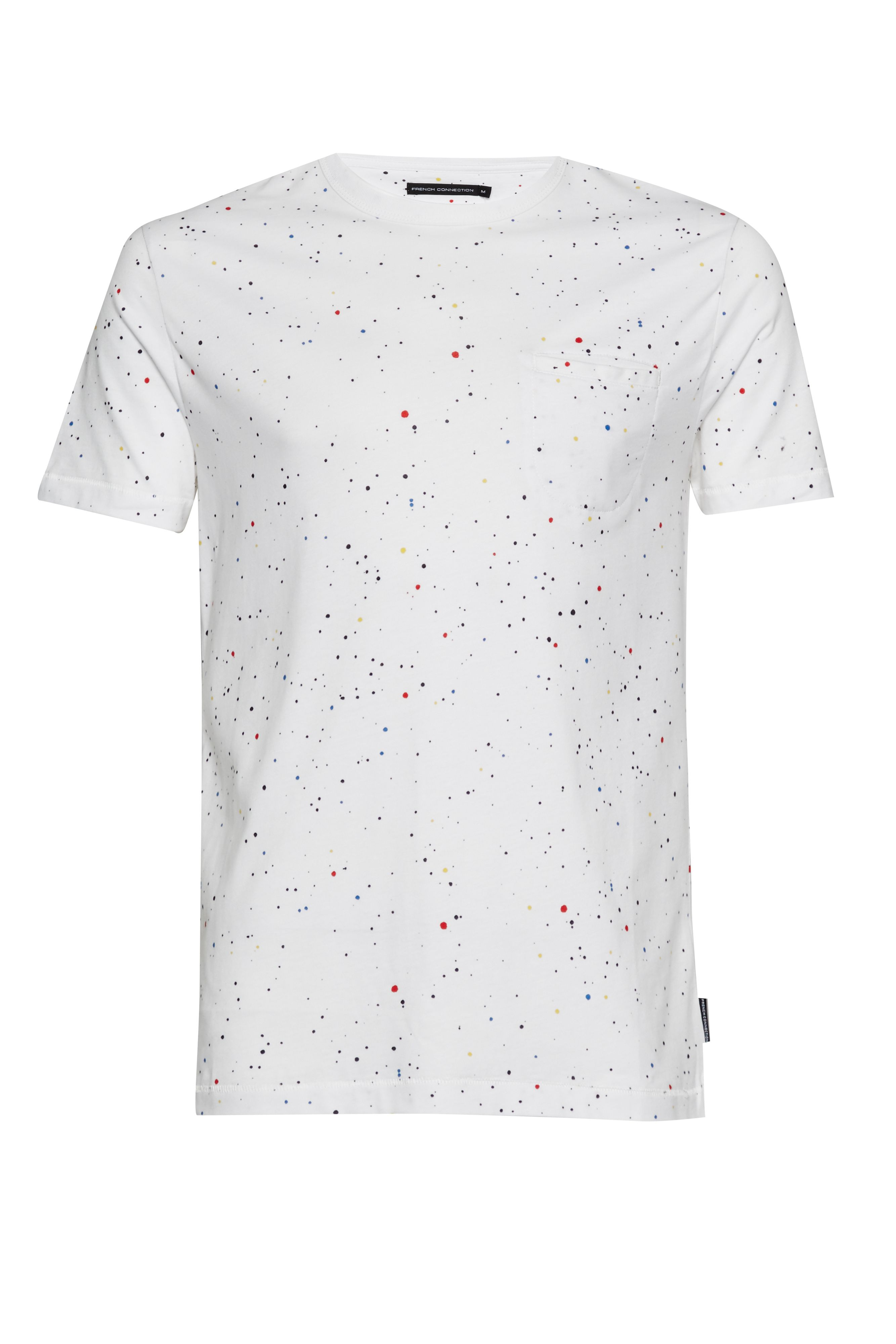 Men's French Connection Star Splatter Printed Jersey T-Shirt, White