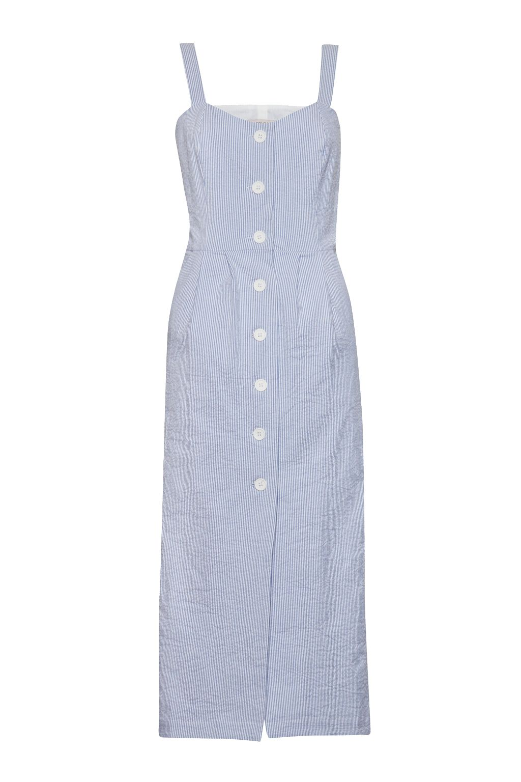 Great Plains Candy Seersucker Stripe Button Dress, Blue