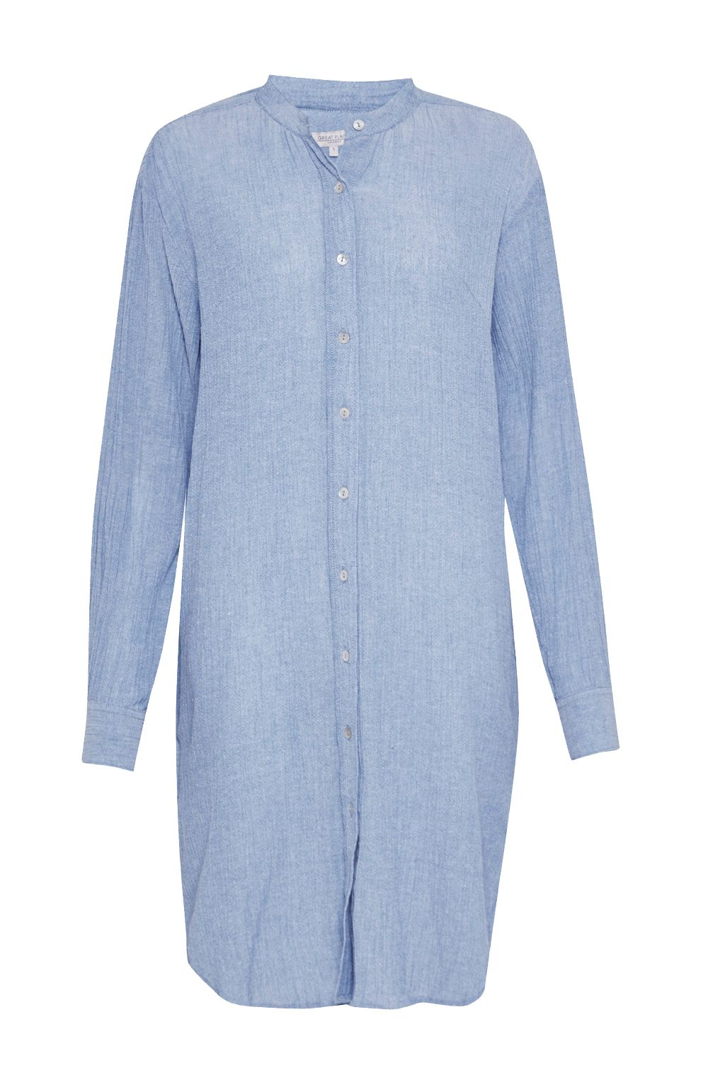 Great Plains Falmouth Crinkle Shirt Dress, Blue