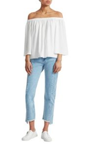 French Connection Summer Light Crepe Off The Shoulder Top