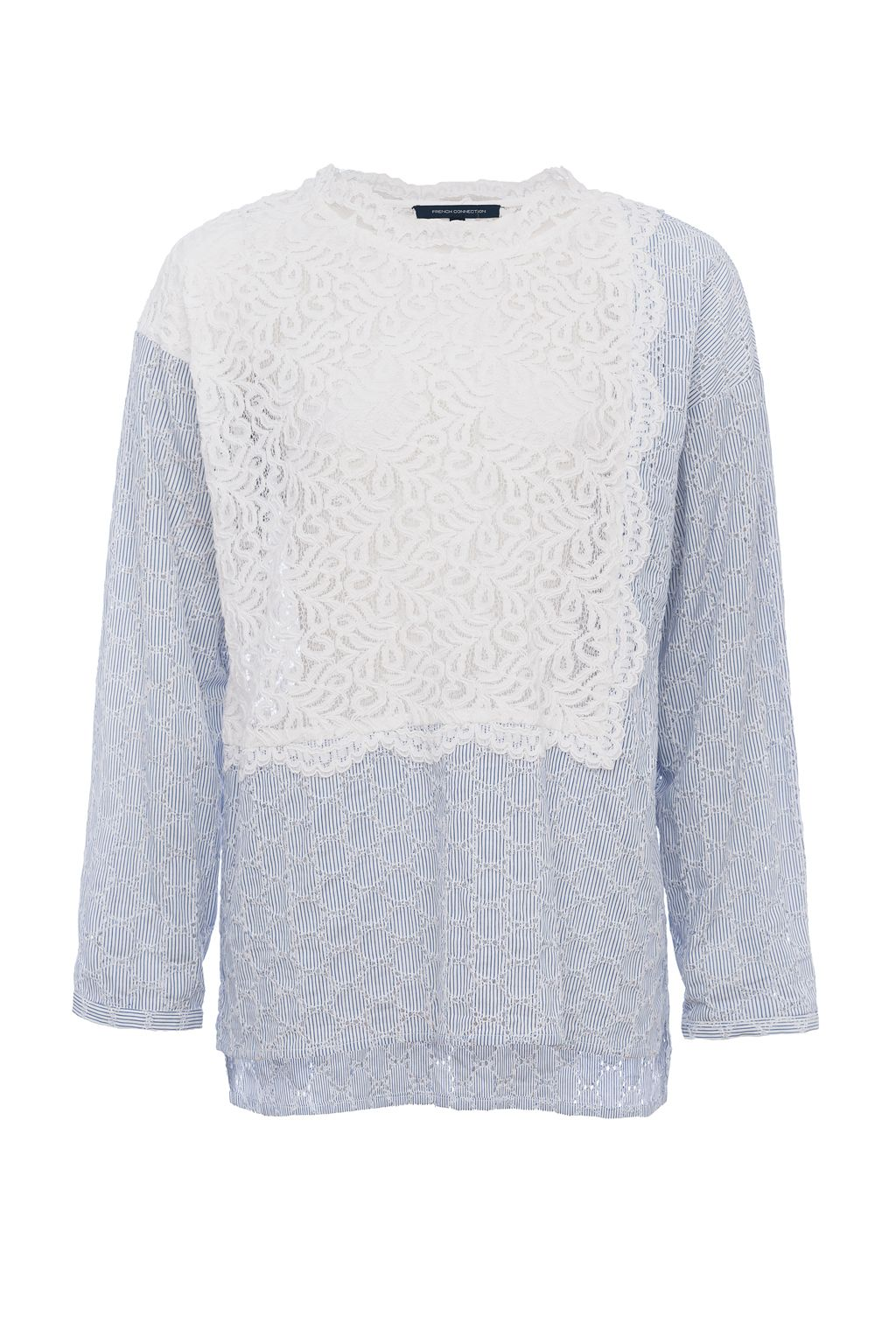 French Connection Oni Lace Mix Shirt, Blue