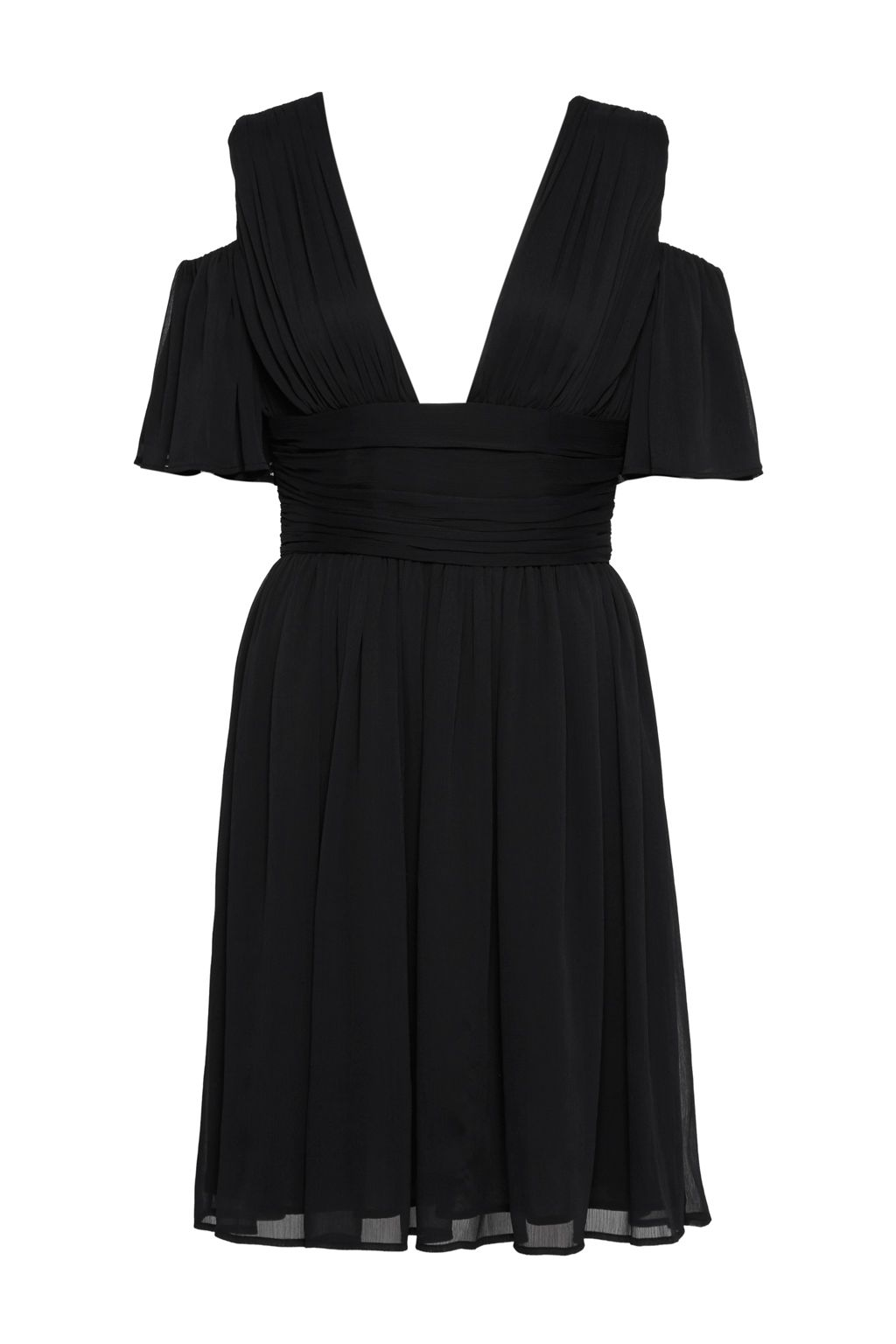 French Connection Constance Draped Cold Shoulder Midi Dress, Black