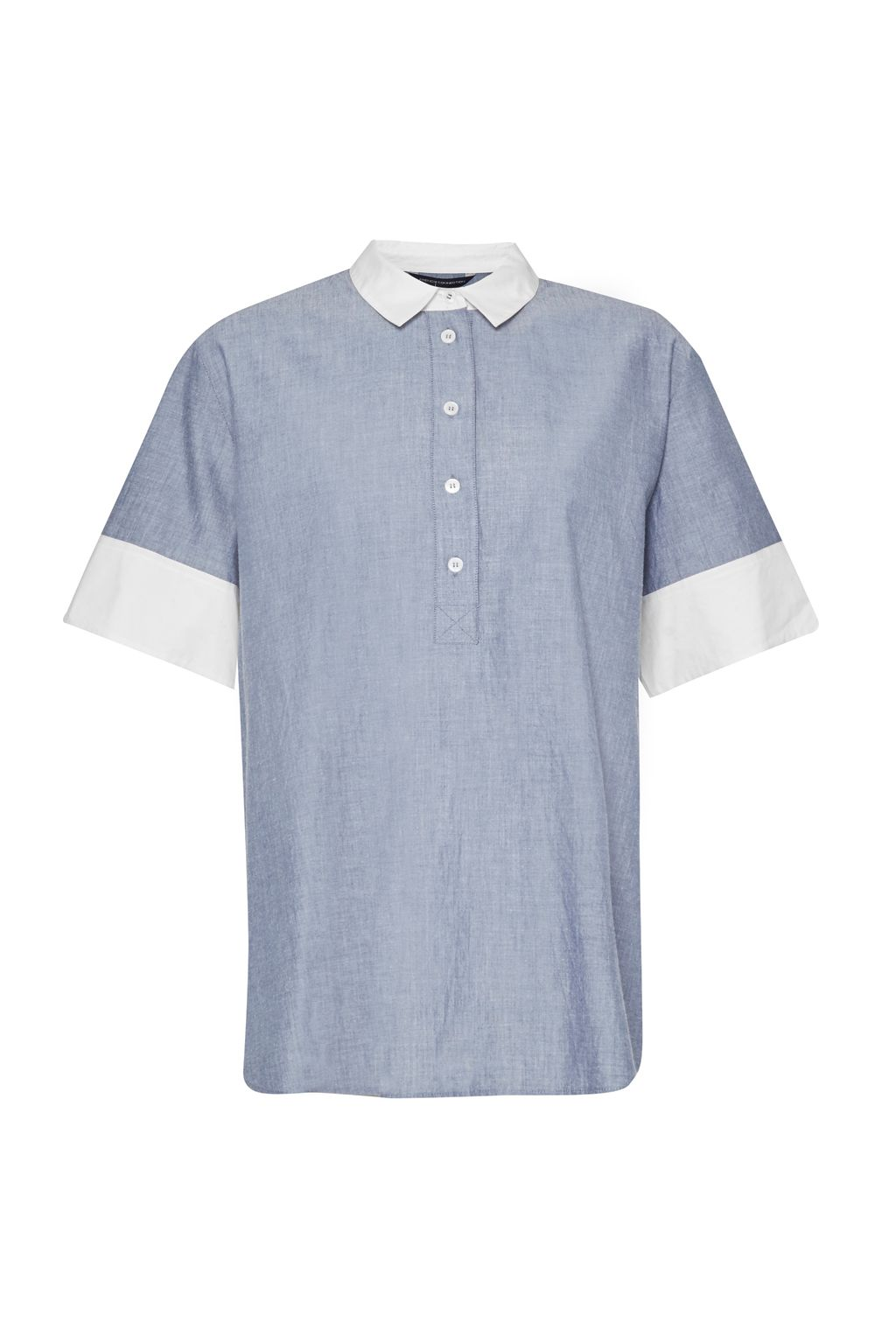 French Connection Kyra Cotton Short Sleeve Shirt, Blue