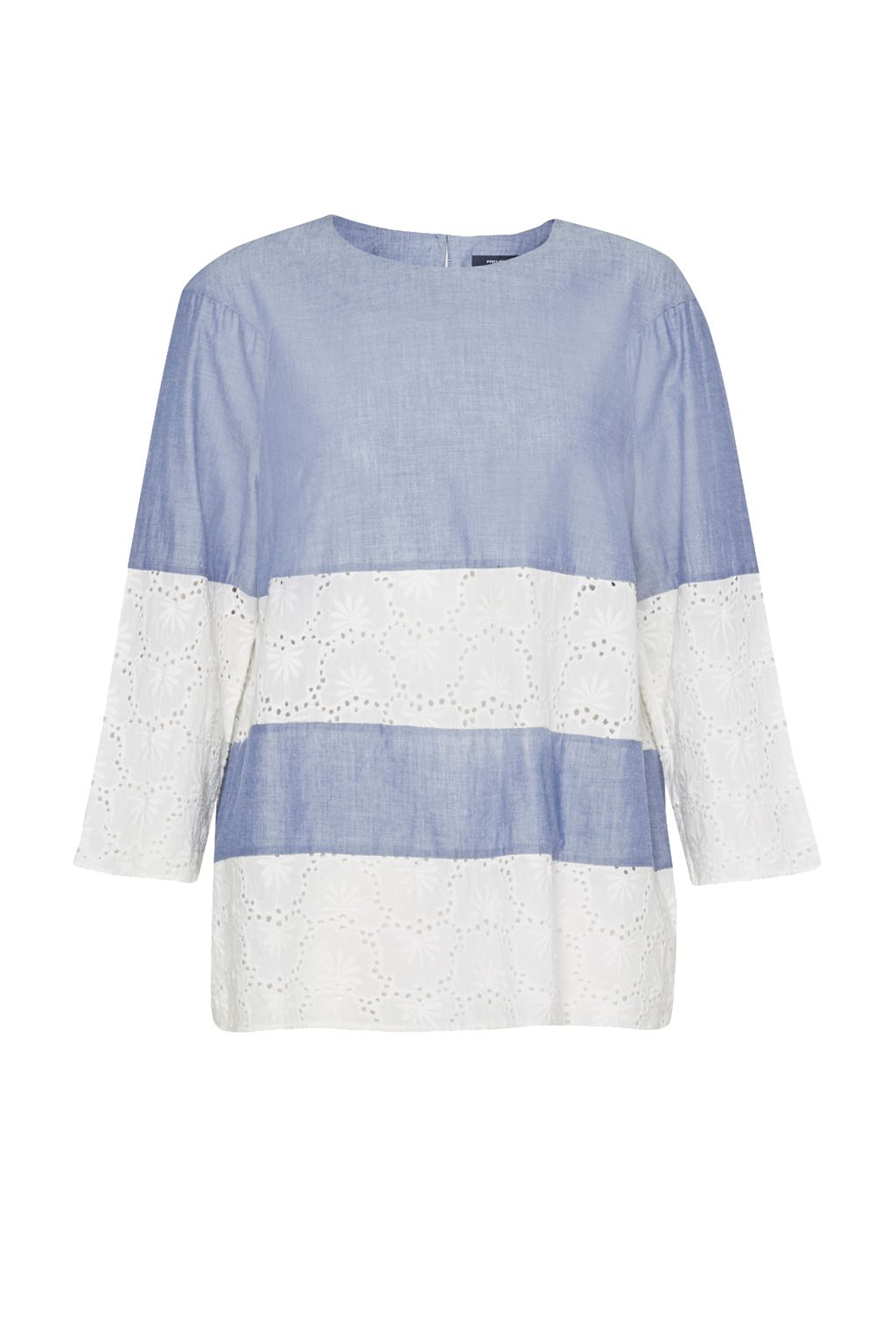 French Connection Kyra Cotton Embroidered Tunic Top, Blue