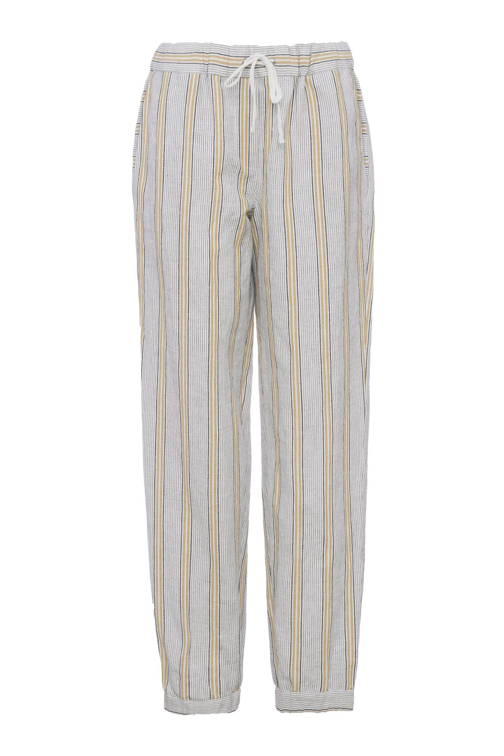 French Connection Salana Striped Drawstring Linen Joggers, Grey