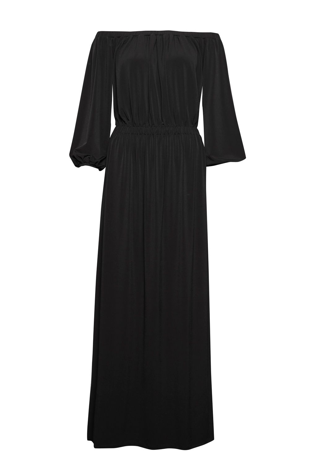 French Connection Adele Drape Bardot Look Maxi Dress, Black