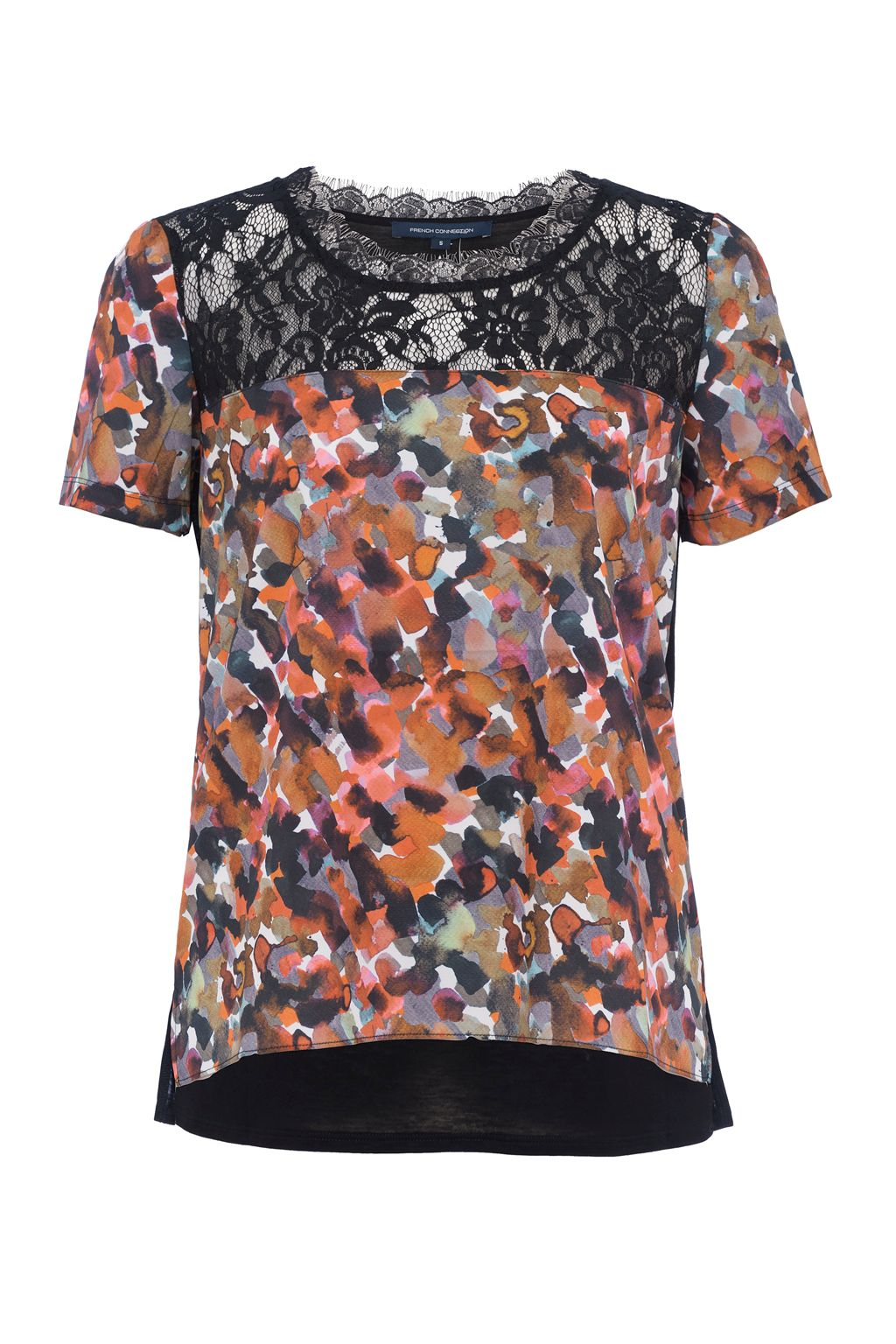 French Connection Eleanor Printed Crepe and Lace Top, Multi-Coloured