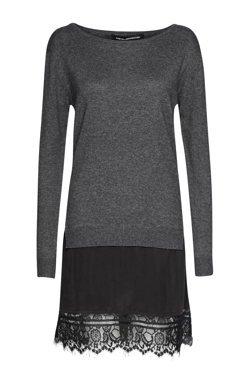 French Connection Melba Layered Effect Jumper Dress, Dark Grey
