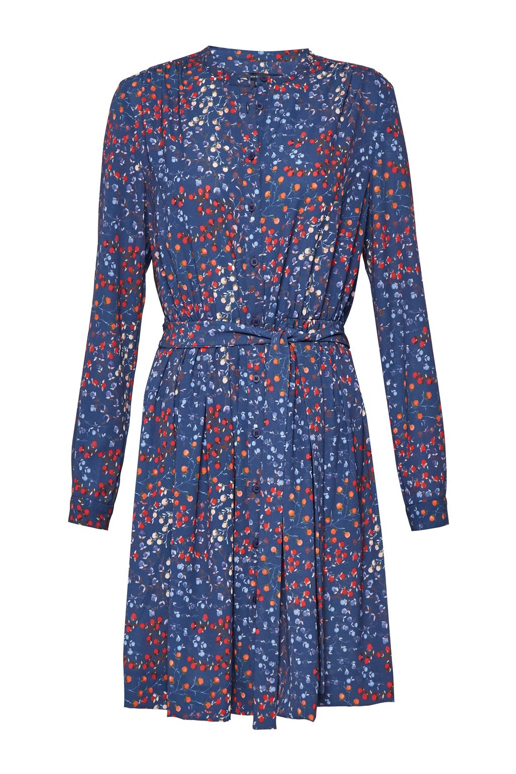 French Connection Frances Drape Tie Waist Dress, Blue