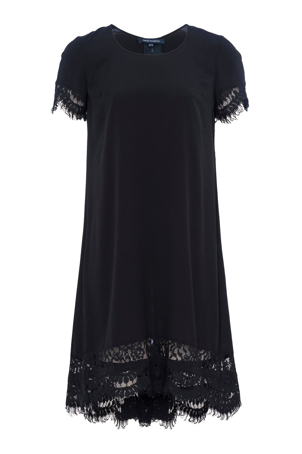 French Connection Classic Crepe and Lace Dress, Black