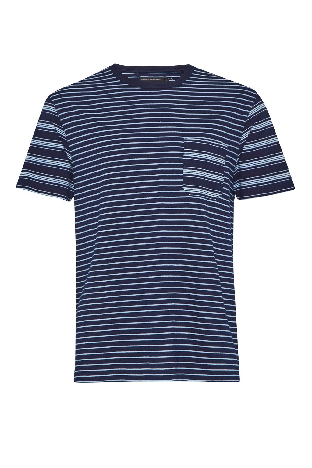 Men's French Connection Block Patchwork Indigo Striped T-Shirt, Denim Rinse