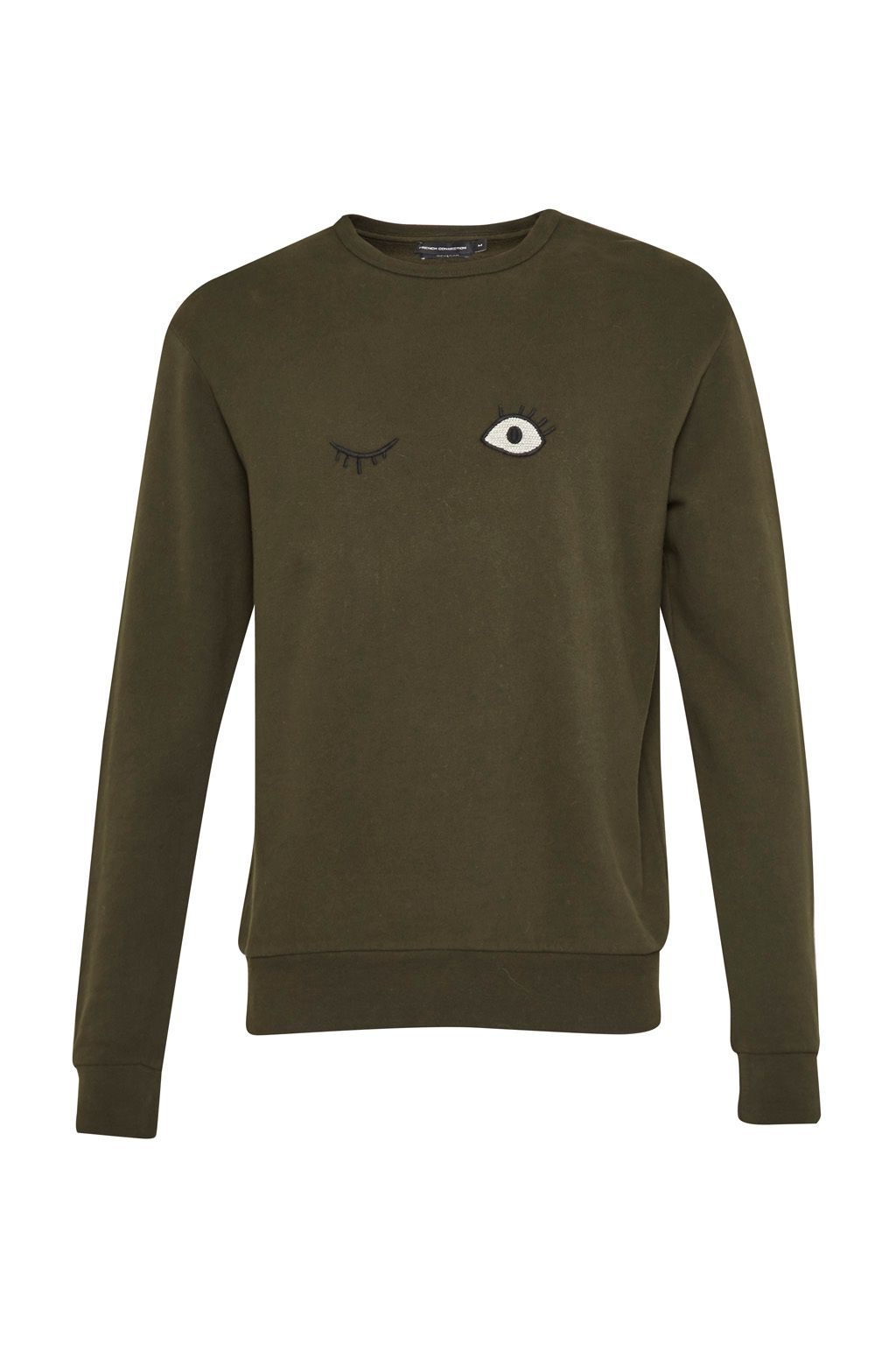 Men's French Connection Wink Embroidered Sweatshirt, Forest Green Marl