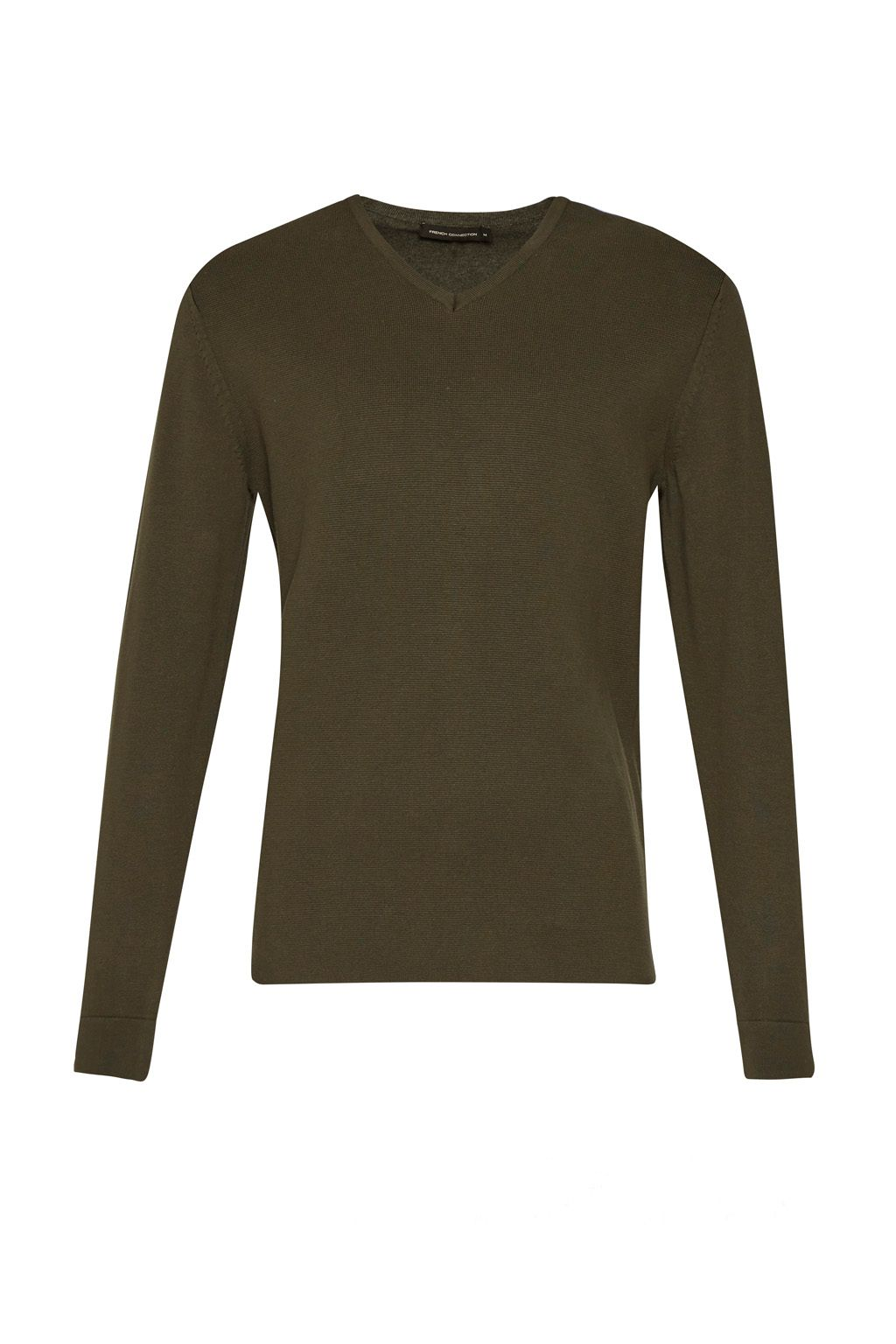 Men's French Connection Milano Front Cotton V Neck Jumper, Forest Green