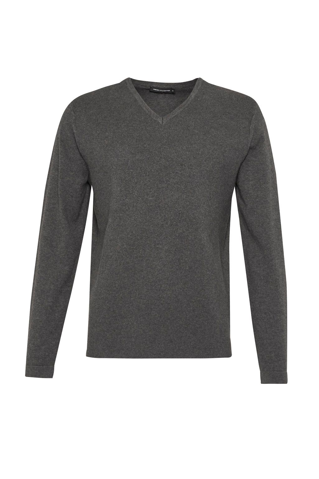 Men's French Connection Milano Front Cotton V Neck Jumper, Charcoal