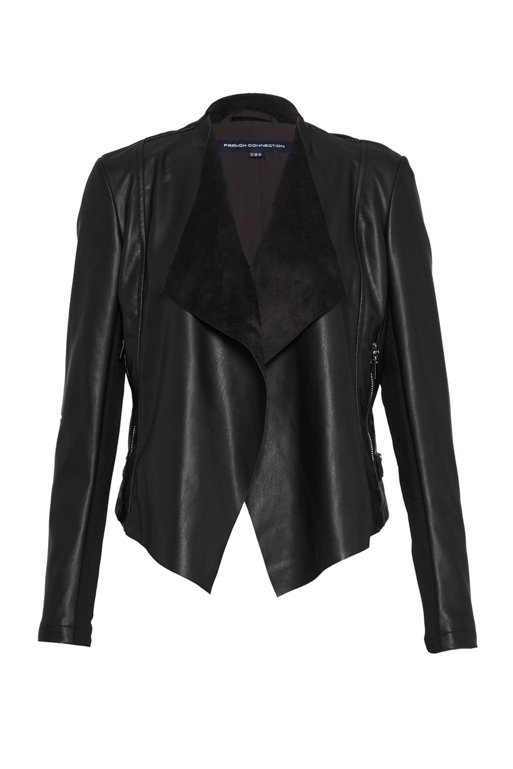 French Connection Stephanie Faux Leather Waterfall Jacket, Black