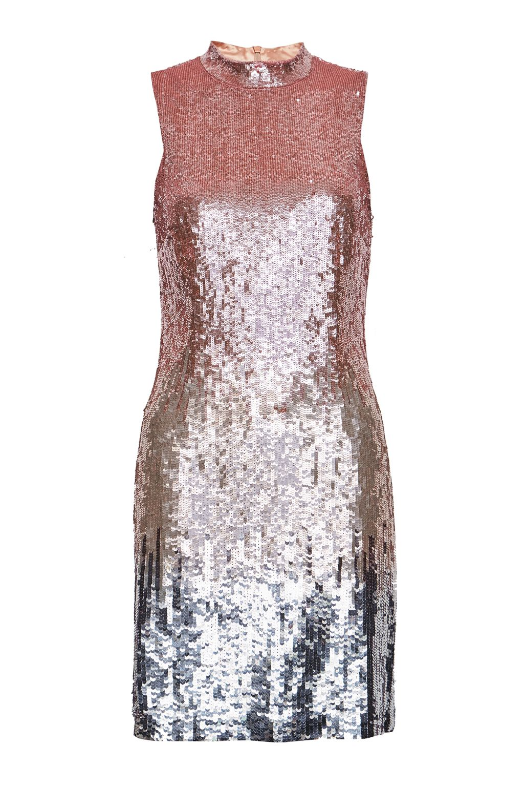 French Connection Starlight Sequins Mock Neck Mini Dress, Pink