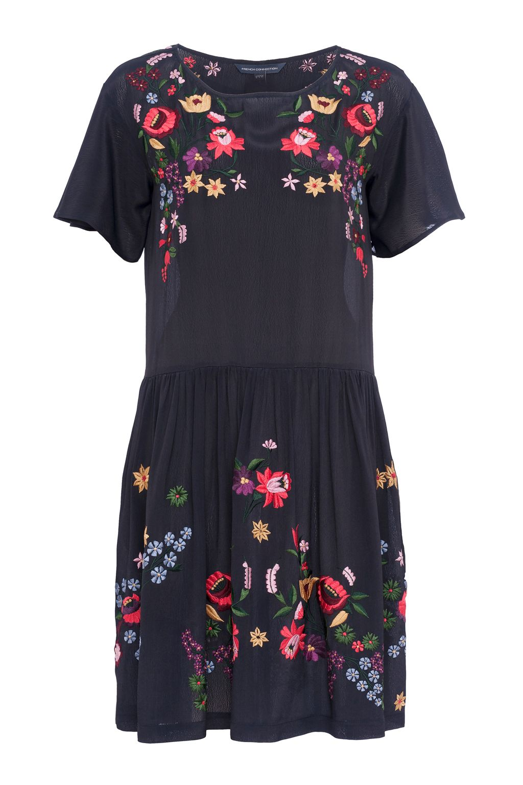 French Connection Alice Drape Embroidered Dress, Blue