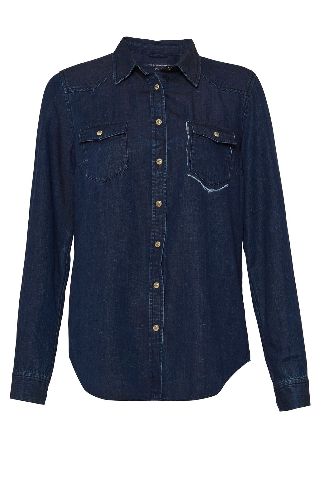 French Connection Leila Denim Classic Western Shirt, Indigo