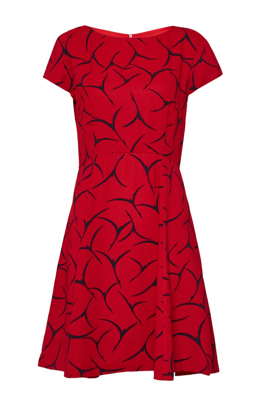 French Connection Rosalind Drape Fit and Flare Dress, Red