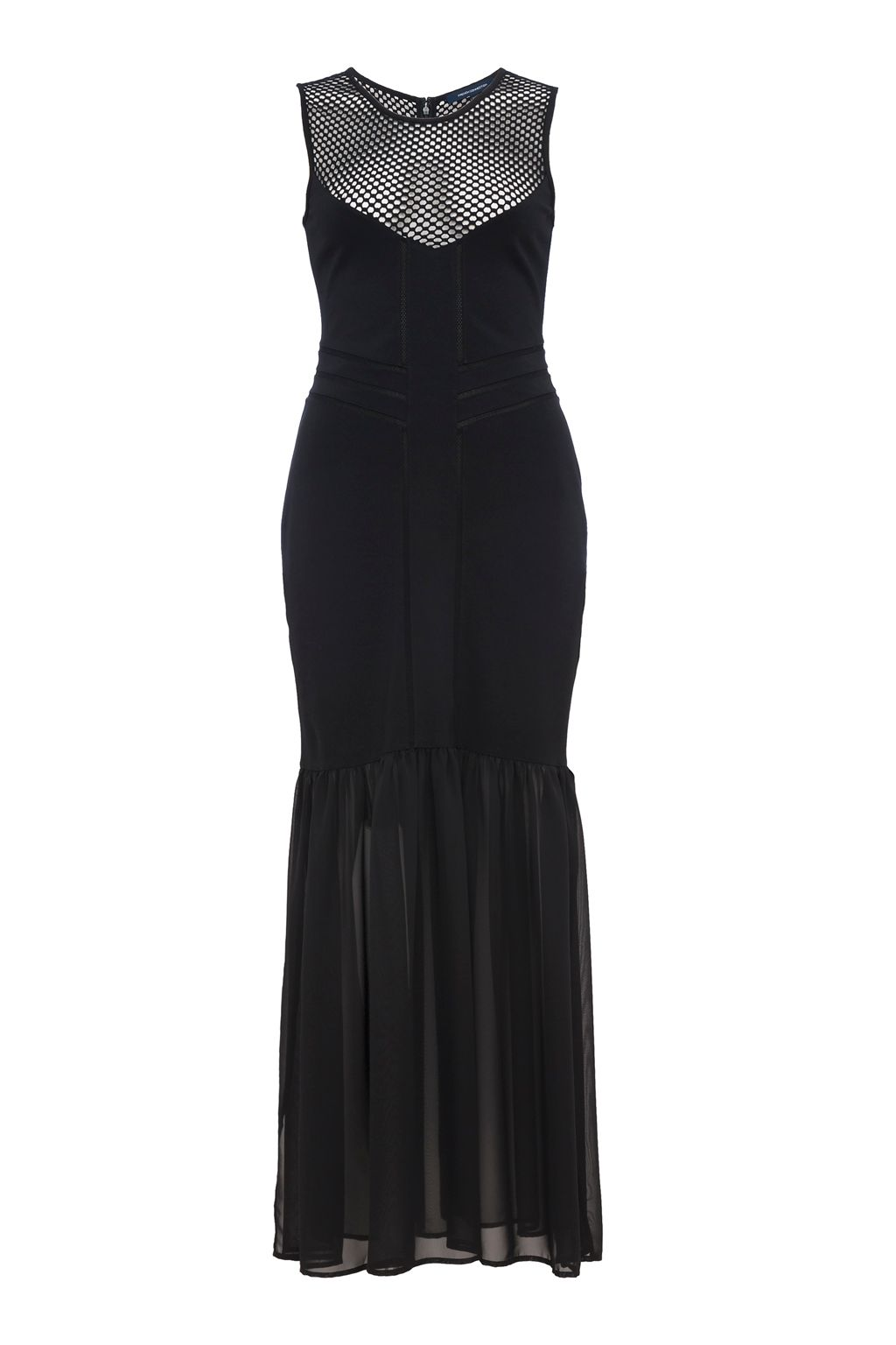 French Connection Chantilly Beau Jersey Mesh Maxi Dress, Black