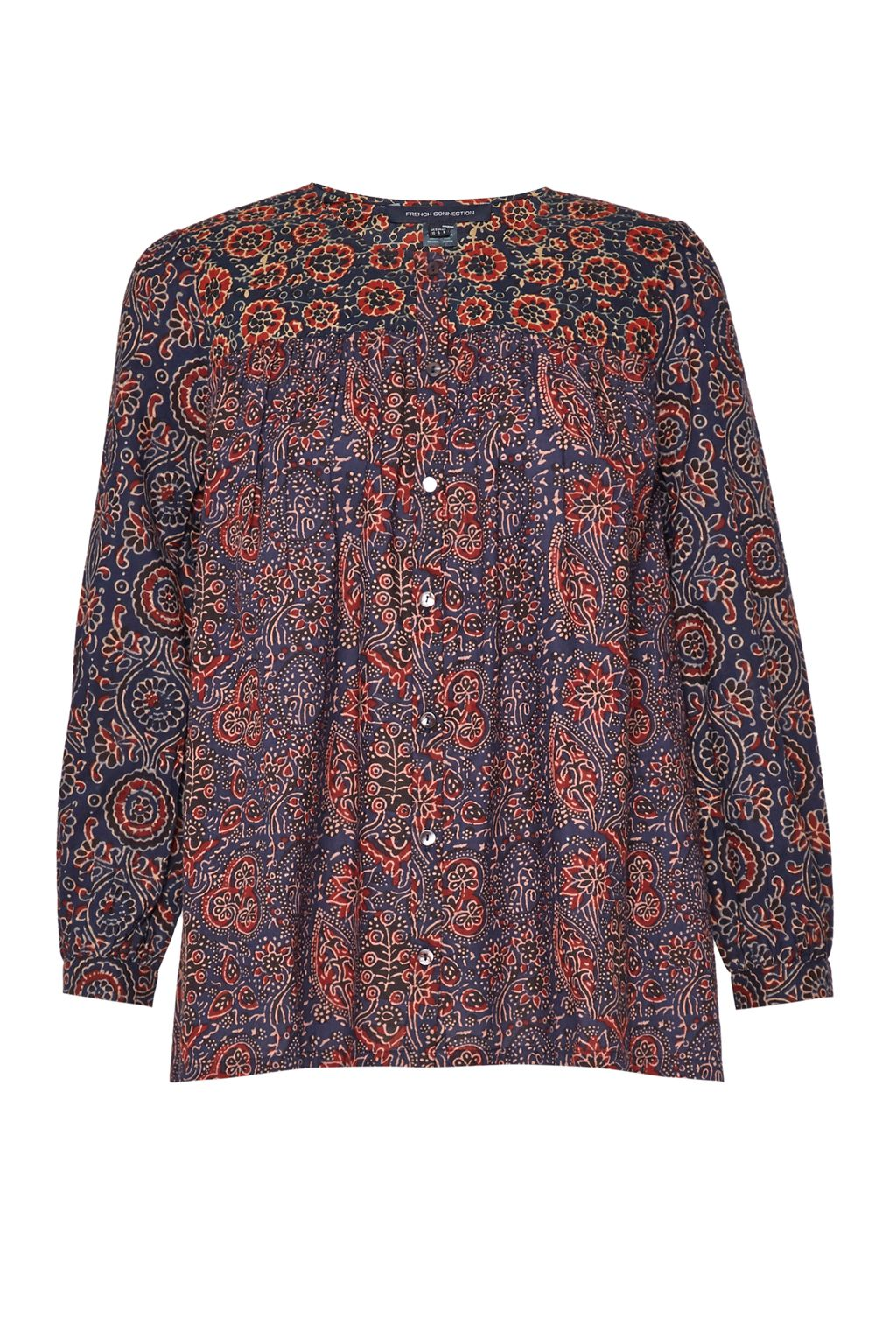 French Connection Marietta Mix Printed Cotton Smock Top, Multi-Coloured