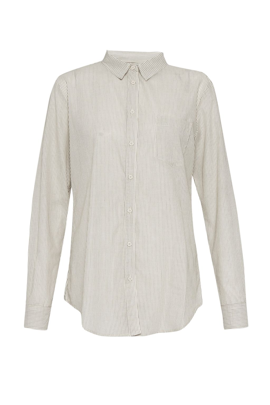 French Connection Winona Cotton Striped Classic Shirt, Dove